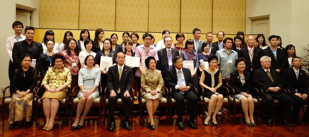 来賓と日本語パートナー、受け入れ先高校の日本語教師