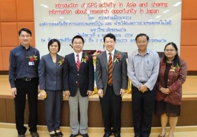 1. 左からDr. Kittisak、Dr. Sukanya、センター長、Prof. Dr. Suthipun副学長、医学部Dr. Bawornsin Chaochuen、Dr. Sineenat Siri