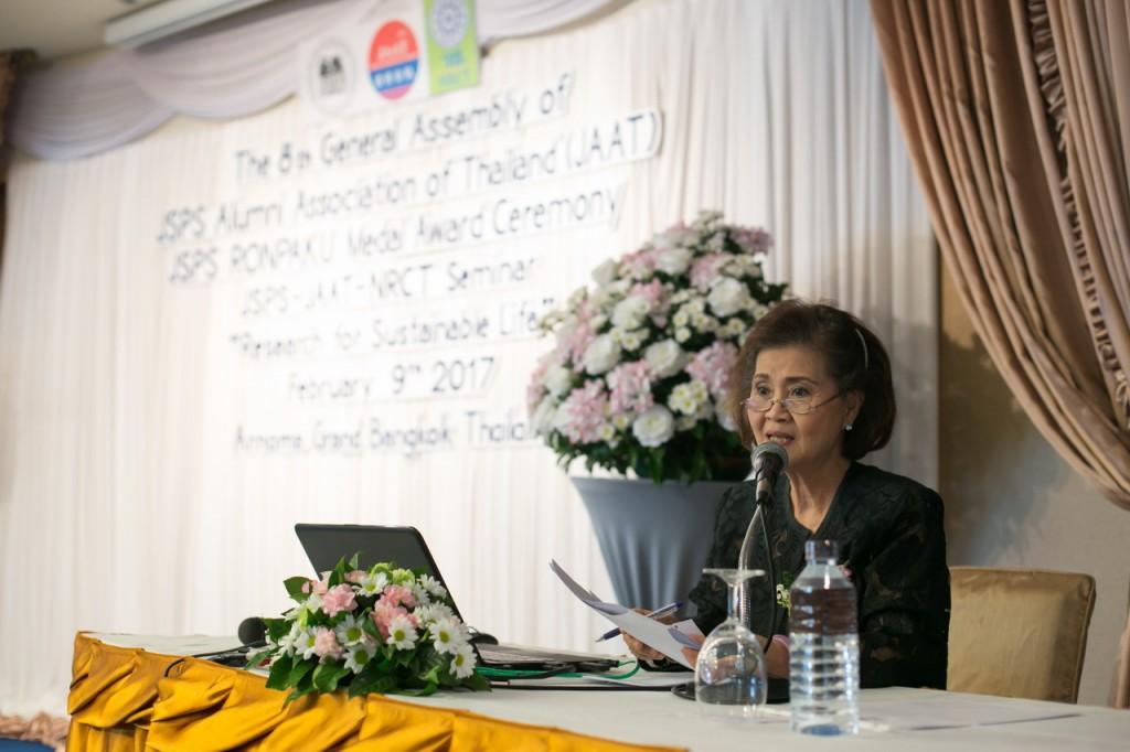 Dr. Sunee, President of JAAT, gives a speech