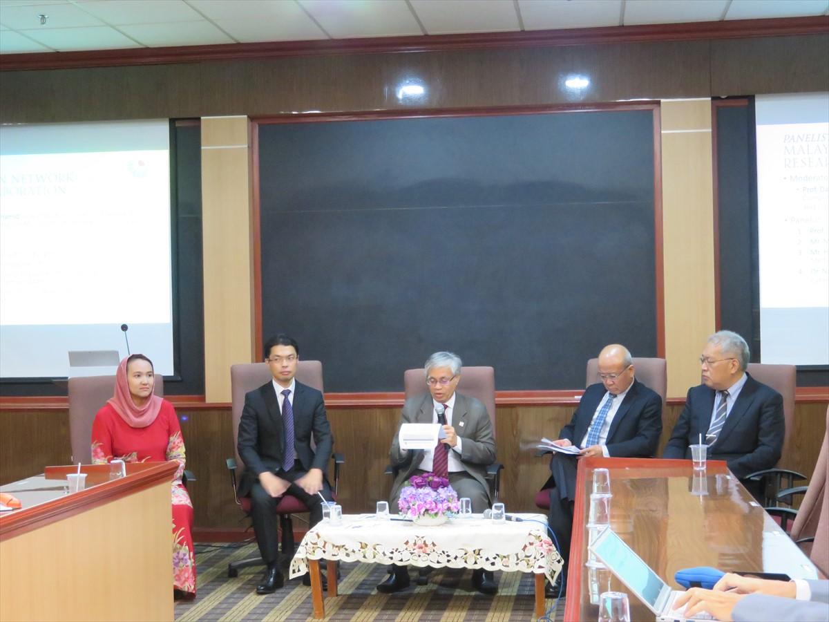 from left: Dr. Razali (UPNM), Mr. Nakamura(AMED), Prof. Datuk Dr. Hamid (UniMy), Mr. Sato (JST), Prof. Yamashita (JSPS)